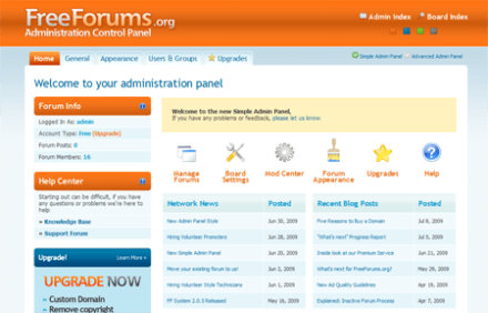 freeforums.org admin panel