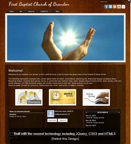 church web builder example