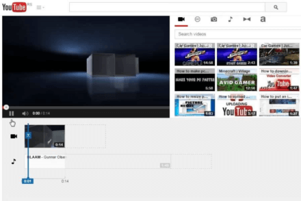 Youtube video editor interface