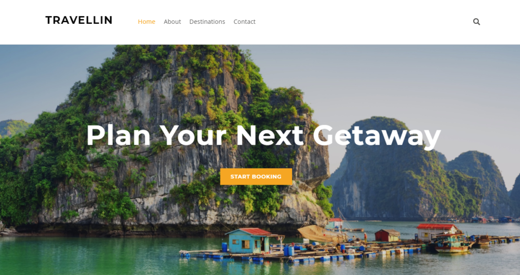 A full-width sample Weebly travel website template