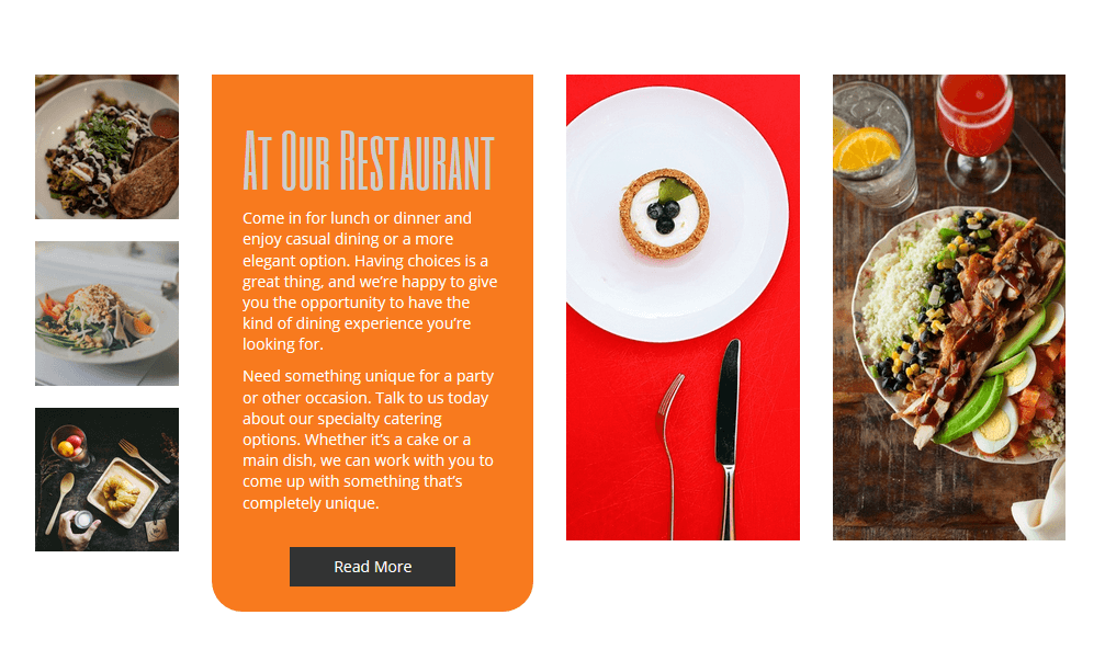 BoldGrid sample restaurant website template