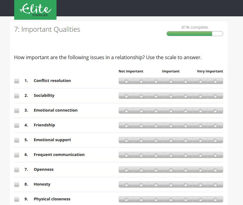 Elite Singles questionnaire samples