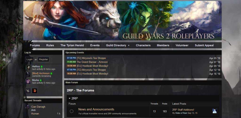 Enjin sample Guild Wars website template
