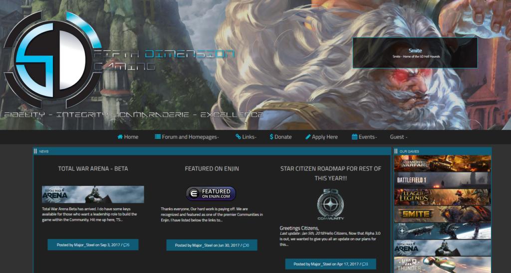 Enjin sample League of Legends website