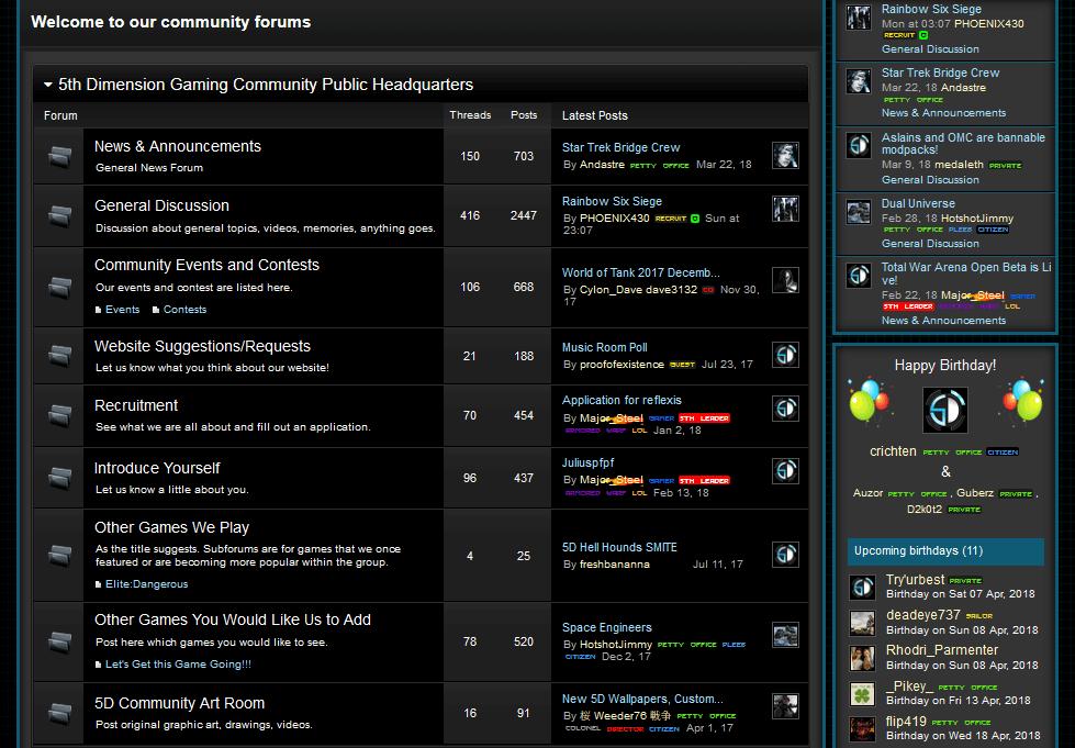 Enjin sample forum page