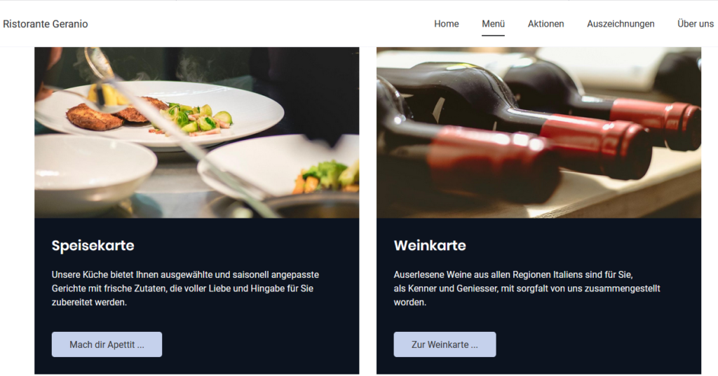 Jimdo sample restaurant business website template