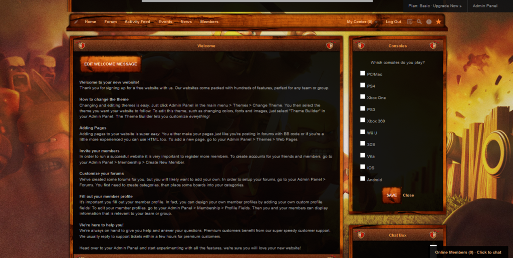 iClan Websites premium template for Clash of Clans sample