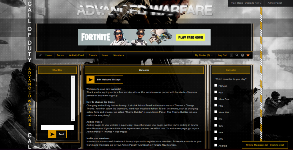 iClan Websites premium template for Call of Duty sample