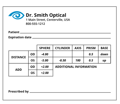 Sample of generic eyeglass prescription