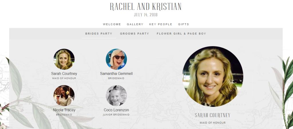Key People From Rachel And Kristian S Wedding Website