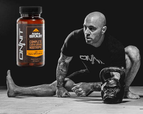 Joe Rogan and Alpha Brain bottle