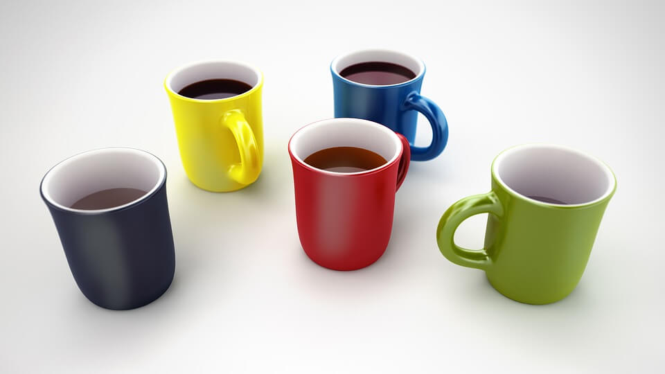 Coffee and tea in mugs